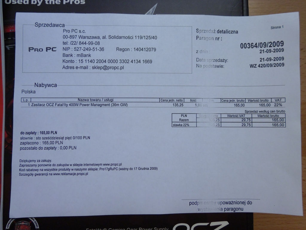 [Sprzedam] Zasilacz OCZ Fatal1ty 400W