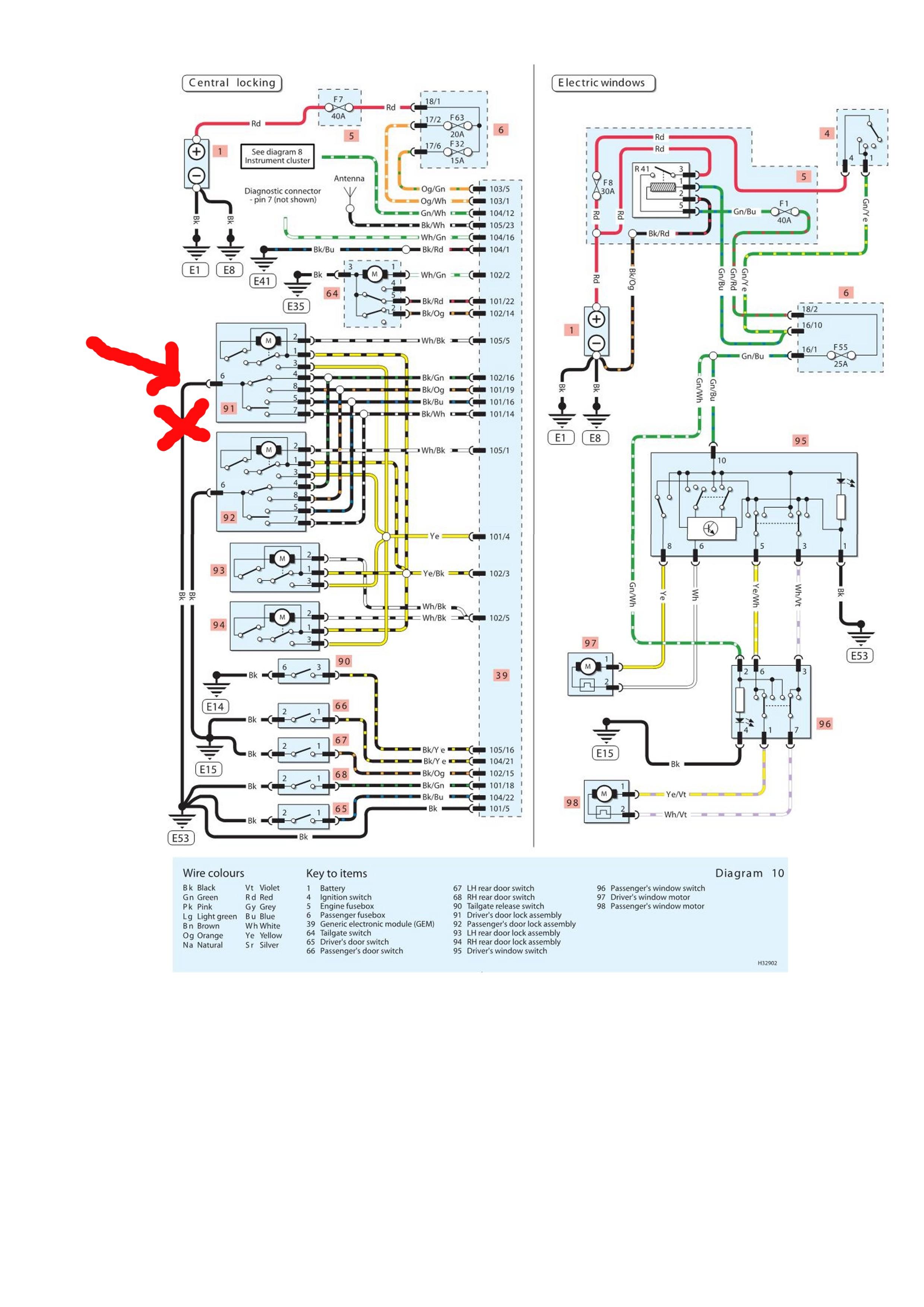 Ford Focus 1.8 TDDI 2002r. - schemat instalacji elektrucznej