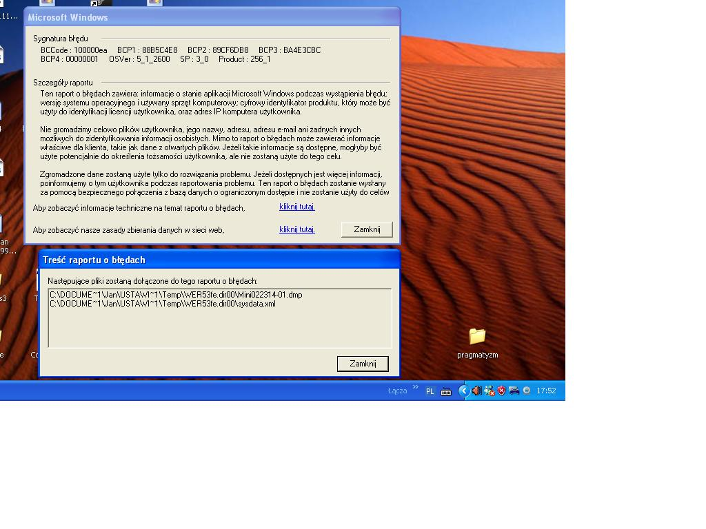 Windows xp sp3 - Znikni�cie obrazy z monitora, error sysdata.xmal i mini