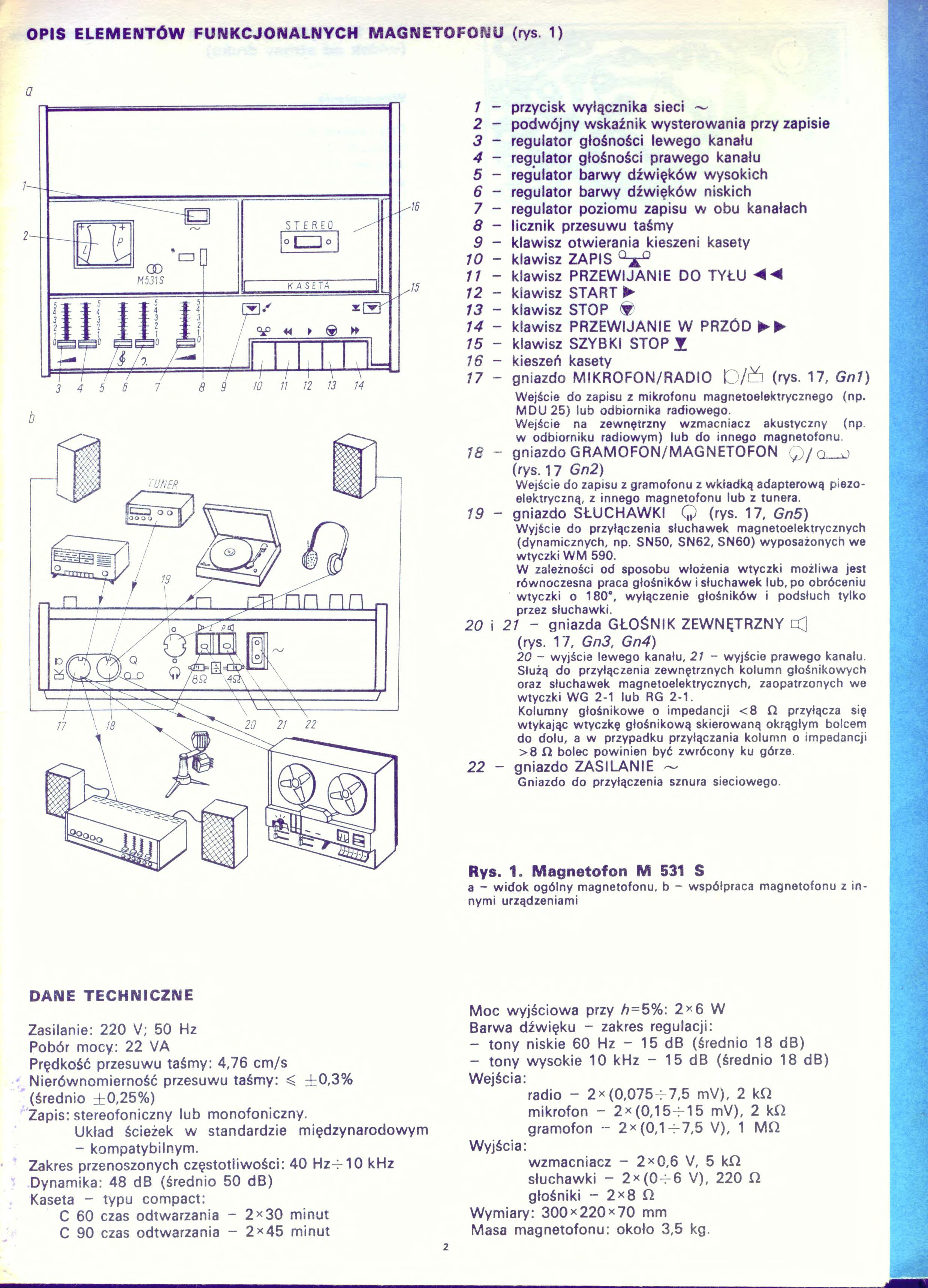 Magnetofon Unitra M 531 S + Unitra Tonsil ZG10-C