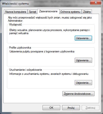 Modyfikowanie pami�ci wirtualnej systemu Windows, stronicowanie