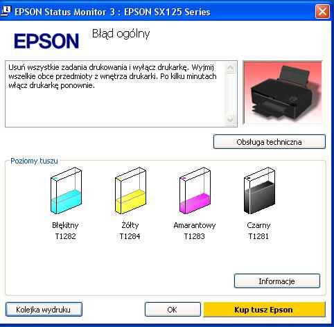 Drukarka Epson nie wykrywa nowego tuszu