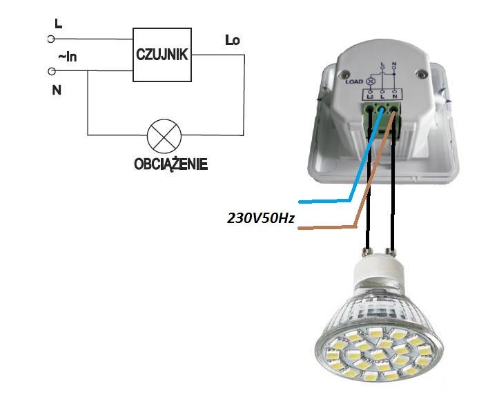 Czujnik ruchu 0-500W 160st do puszki 60 LED SMD