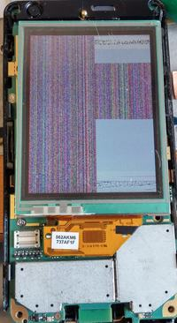 Sony Ericsson P1 - Paski na LCD