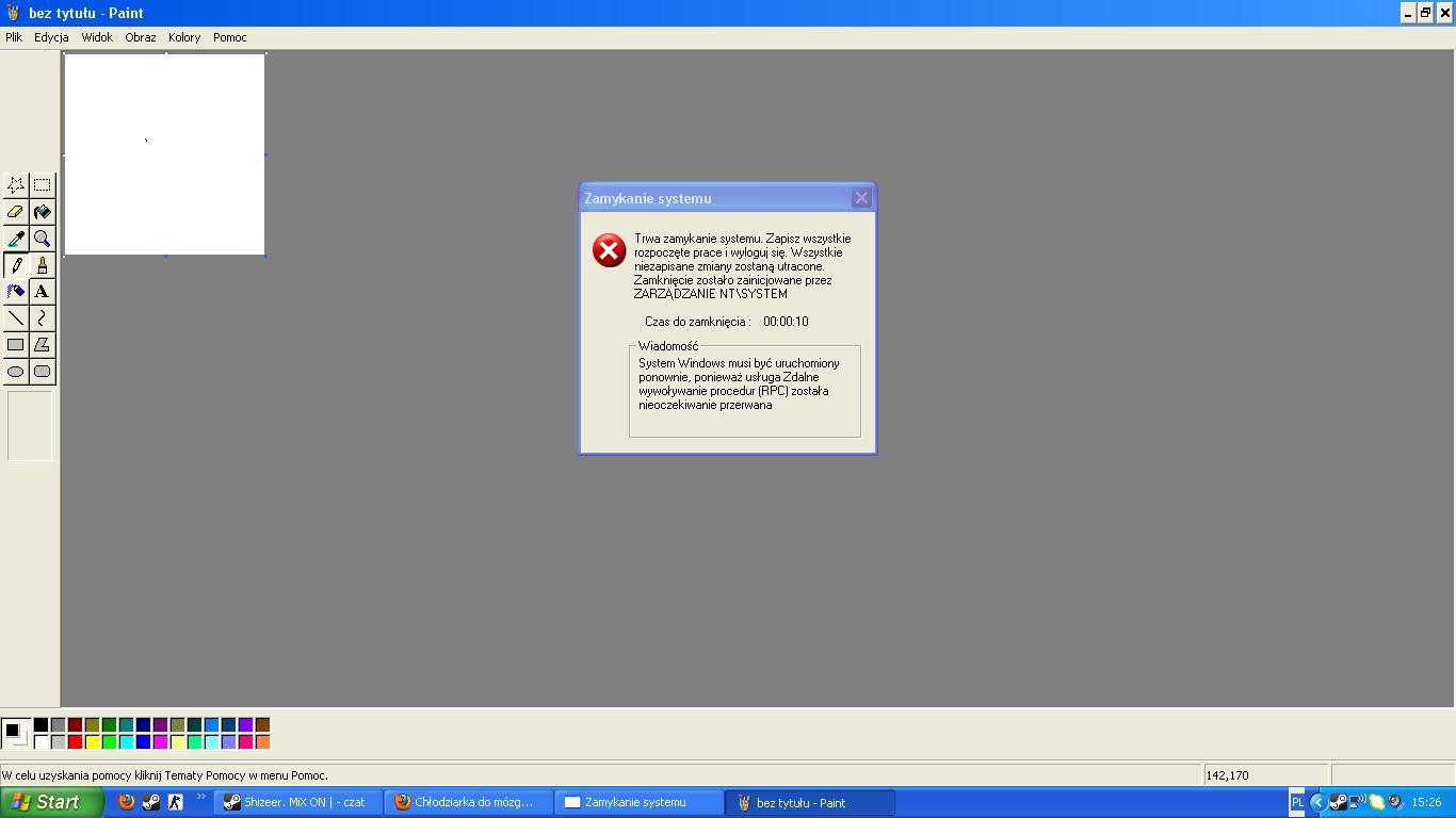 B��d: Zamykanie systemu. Us�uga RPC zosta�a nieoczekiwanie przerwana.