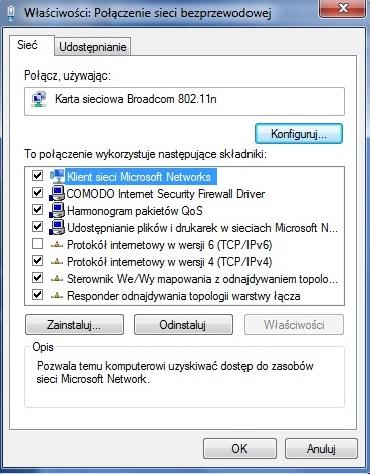 Sie� niezidentyfikowana, Windows 7
