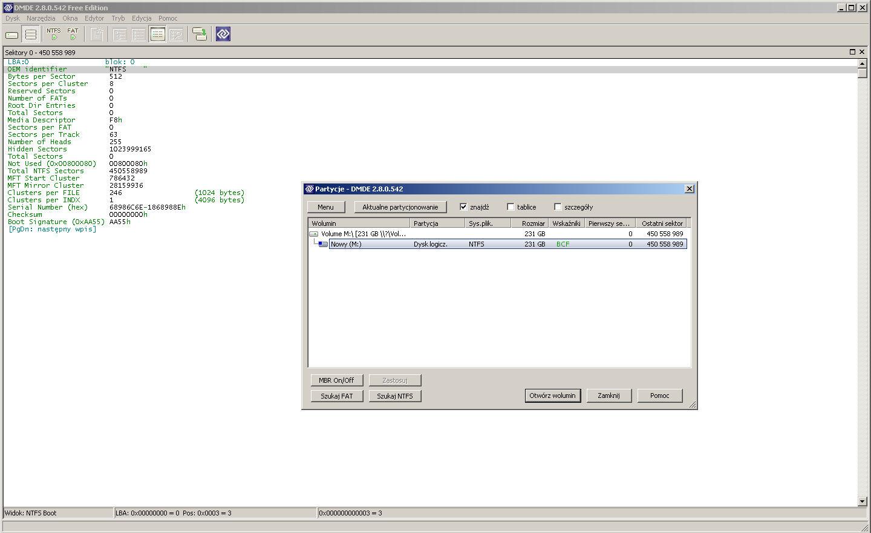 Dysk USB WDC WD10EAVS 1 TB - nie mo�na dosta� si� do partycji, b��d danych CRC