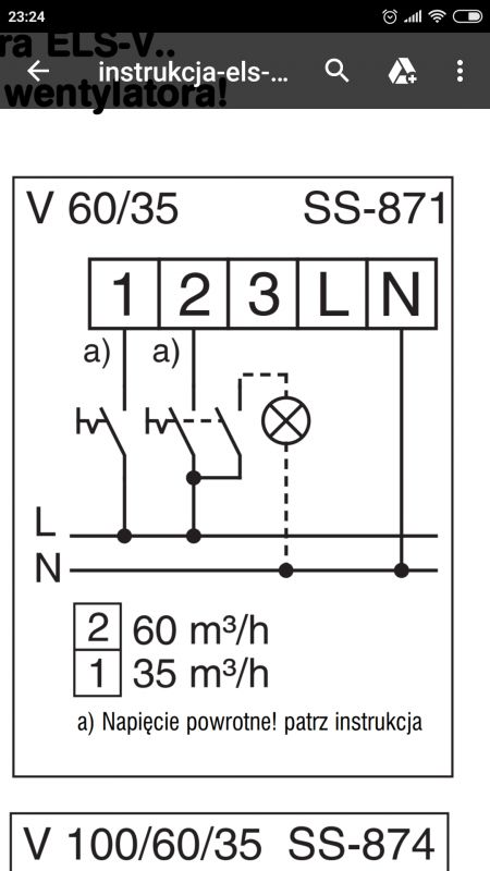 Helios ELS-V 60/35 Jak wyłączyć pierwszy bieg?