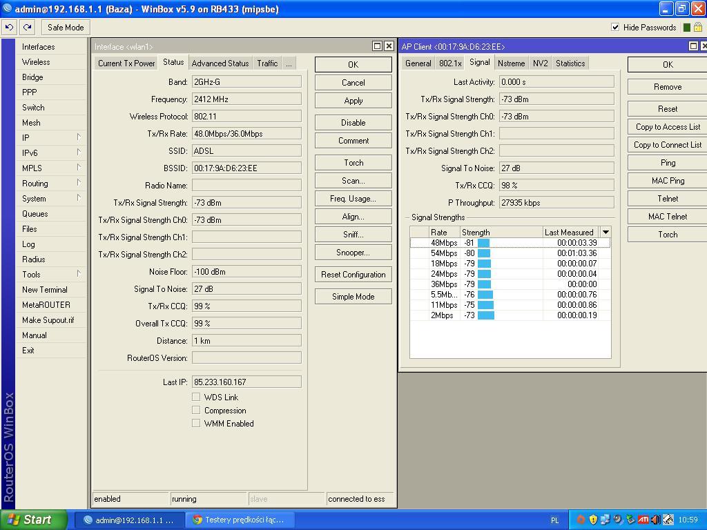 RB433 +Adsl na wifi  - du�y ping 184ms i wi�cej