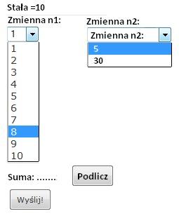 Pole wyboru w formularzu - sumowanie wartości [php]