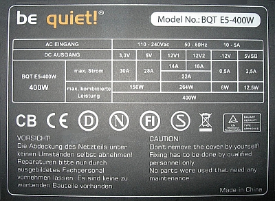 Be Quiet model: BQT E5-400W StraightPower - Brak napi�cia PWR OK.