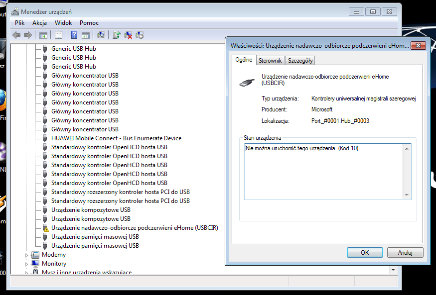 Windows 7 eHome infrared transceiver driver not installed