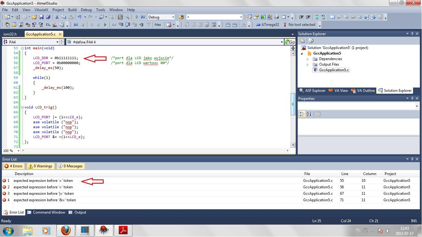 Mega32 Atmel Studio - Nie kompiluje programu po u�yciu #define