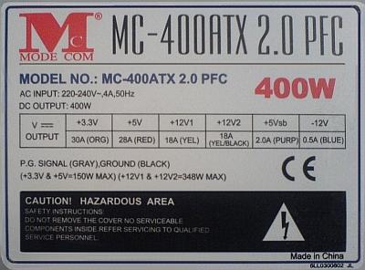 ModeCom model: MC-400 ATX 2.0 PFC - Piszczenie transformatora.
