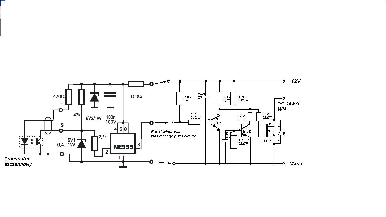 Elektroniczny zap�on bezstykowy-schemat do weryfikacji