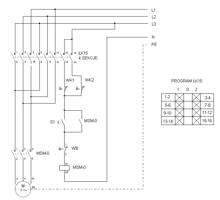 Układ wł/wył oraz zmiany kierunku obrotów silnika 3 fazowego