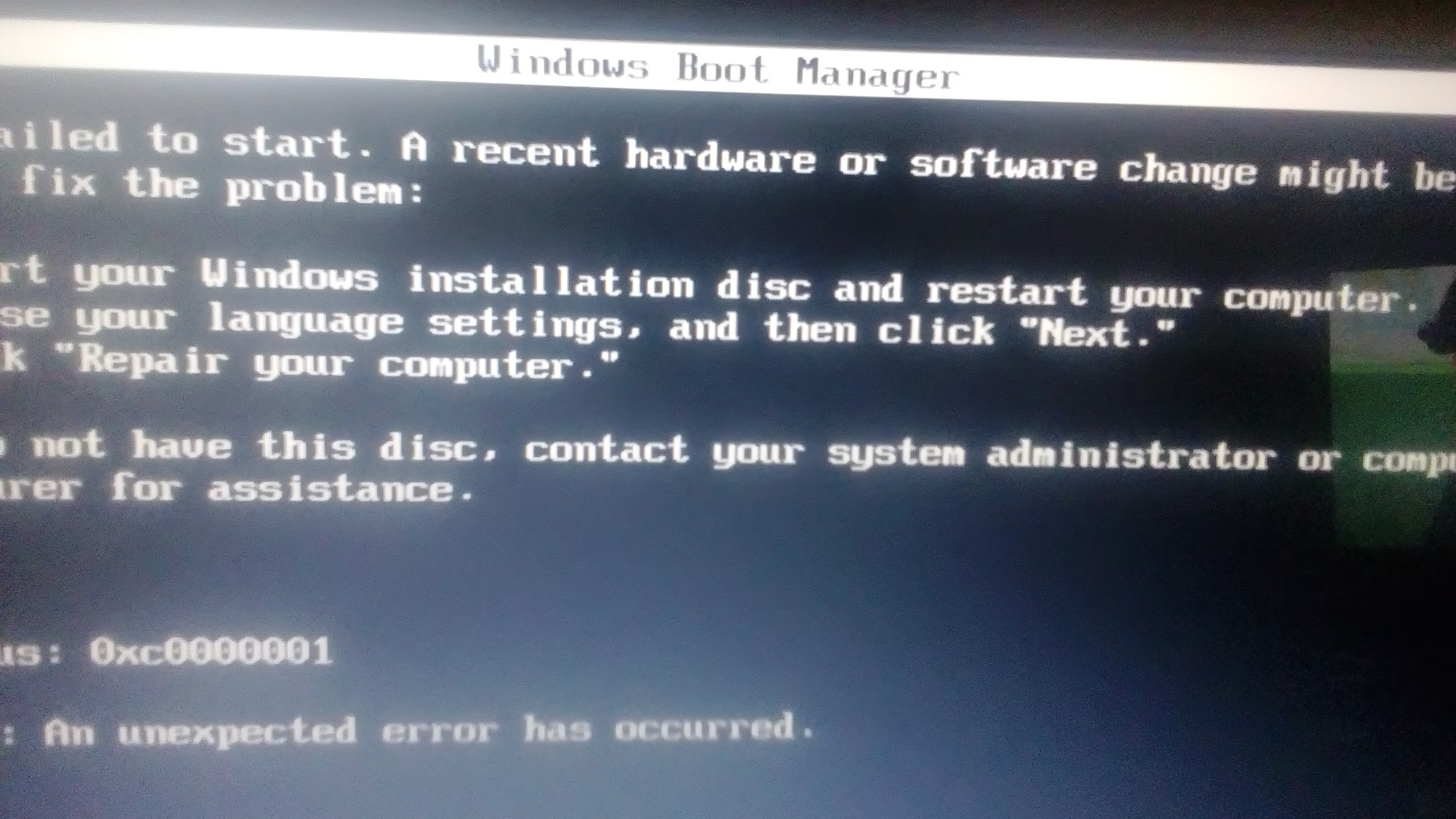 Samsung RV511 brak startu z windows boot manager - elektroda pl