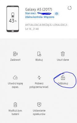 Samsung Galaxy J5 - telefon zablokowany na linie papilarne, prosi o hasło