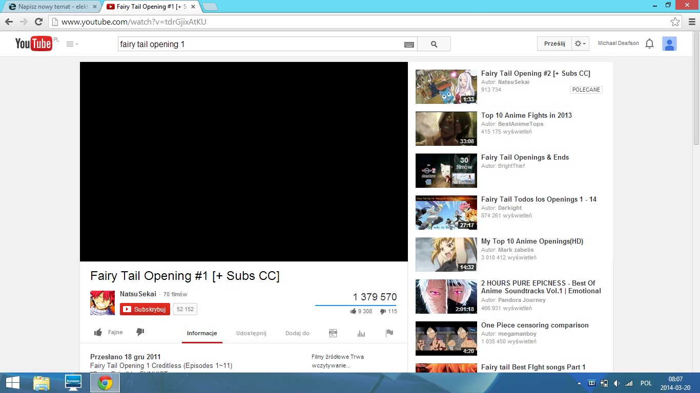 YT - Czarny ekran - Youtube.