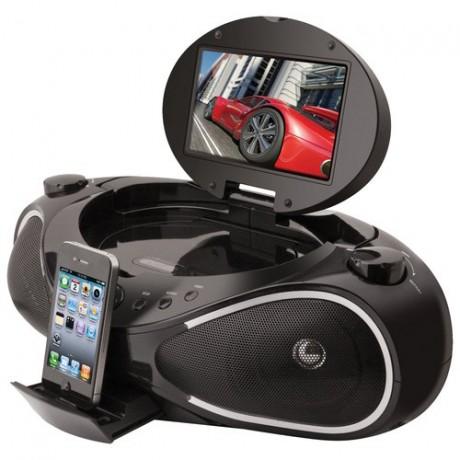 iLive IBPD882B - boombox z CD/DVD, dokiem dla iPhone i 7-calowym wy�wietlaczem
