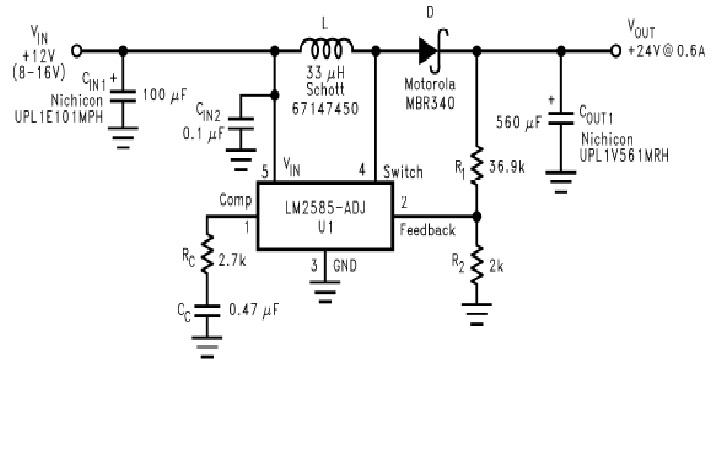 Przetwornica impulsowa Step-UP 12V na 20V 100mA - potrzebny schemat