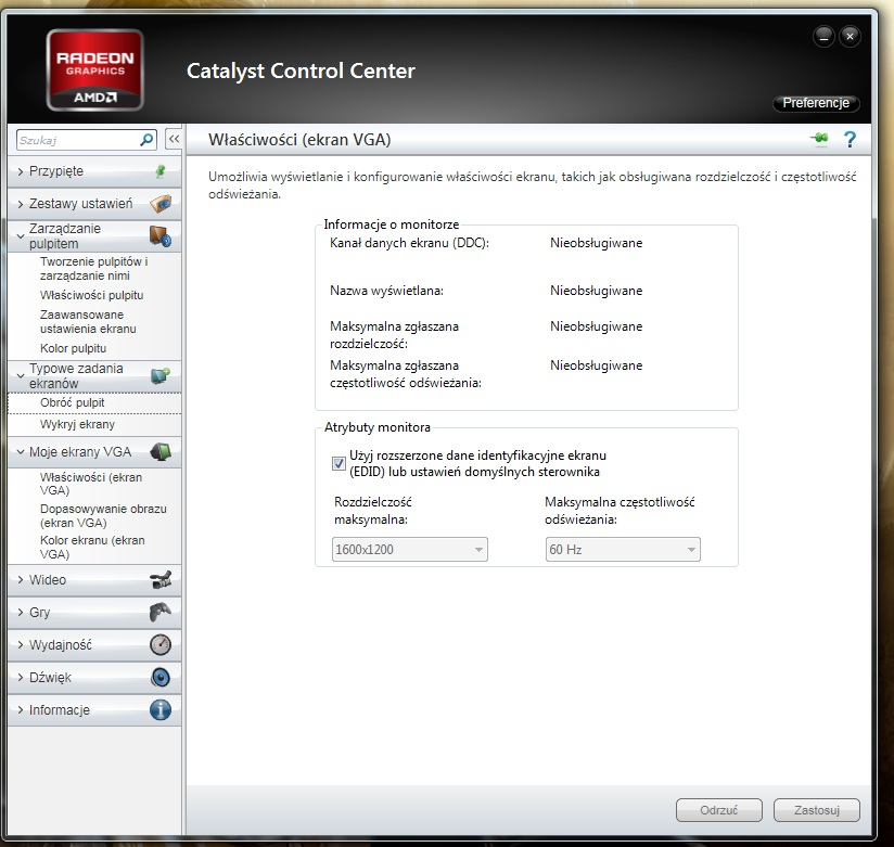 Problem - Grafika 7850 a monitor LG - zakres pracy