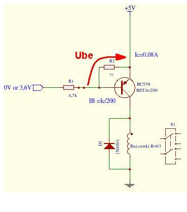 Pod��czenie przeka�nika 12V do wyj�cia przeciwsobnego 3,6V