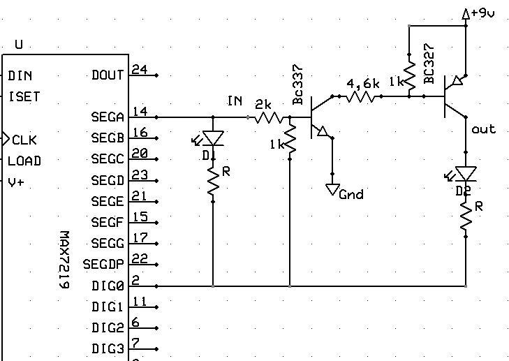 MAX7219 + tranzystory zwi�kszj�ce obci��enie