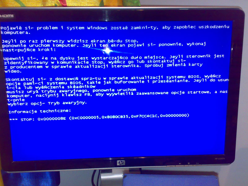 Ci�g�y Blue Screen podczas pr�by zainstalowania systemu