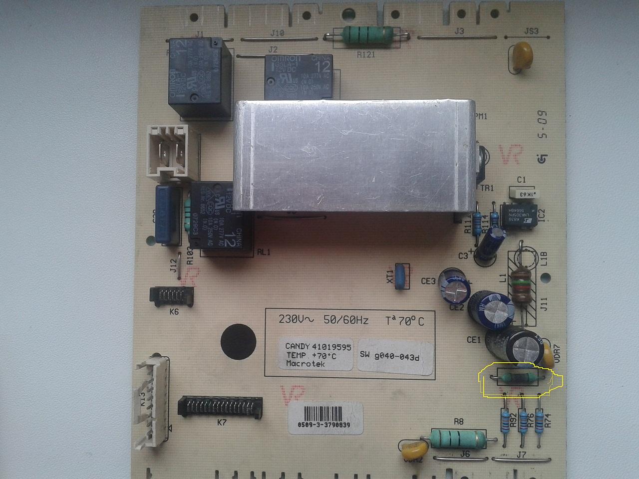 candy cs2 125 - Spalona cz�� na module,jak si� nazywa?
