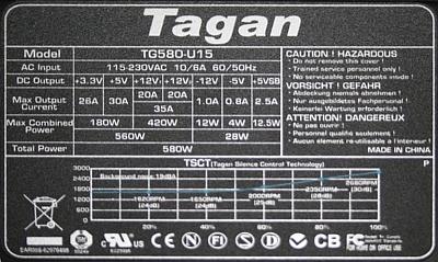 Tagan model: TG580-U15 - brak napi�� wt�rnych.