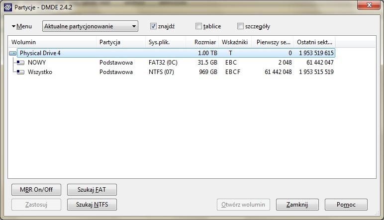 Awaria dysku zewn�trznego WD 1TB - zamiast NTFS jest RAW