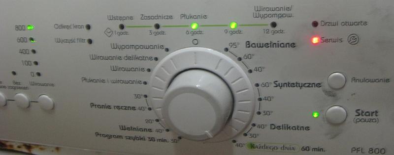 Polar PFL 800 pralka - Nie kończy prania,świeci serwis