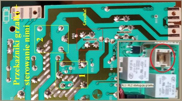 Pralka Electrolux EWT1367VDW - błąd E66, które przekaźniki są od grzałki?