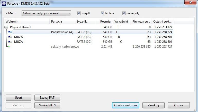 SAMHM641JI - Zamiast FAT32 jest RAW - testdisk nie pomaga, zrzut DMDE co dalej?