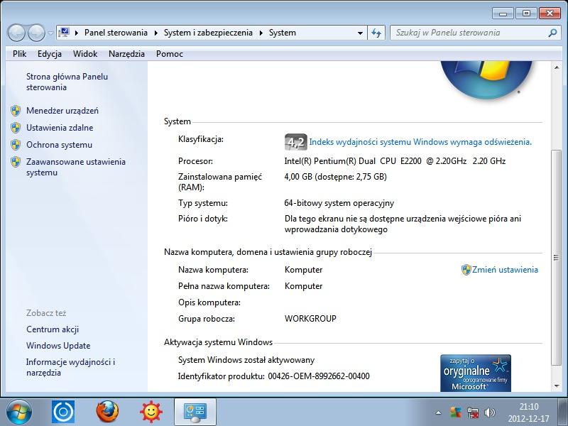 Gigabyte GA-945GCM-S2L - Windows 7 64-bit: 4GB RAMu a czyta tylko 2,75GB