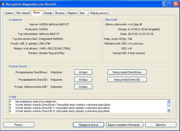 GeForce 8600GT - Sterowniki NVIDIA - z�e?