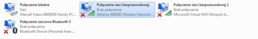 """Samsung R780 64bit i3 - """"brak dostępnych połączeń"""""""