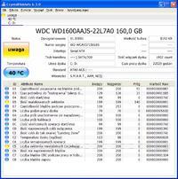 WDC WD1600AAJS-22L7A0 - Samoczynny reset komputera, sprawdzanie dysku CHKDSK