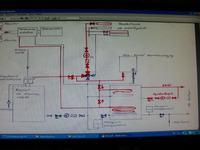 Schemat kotłowni - mały kocioł na paliwo stałe + piec gazowy