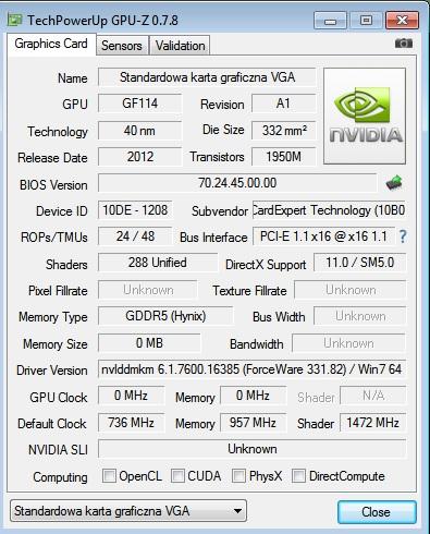 GTX 560 SE - Komputer nie widzi karty.