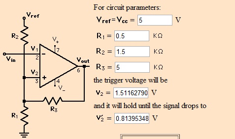 Jak zbudować dyskryminator impulsów układzie schmitta?