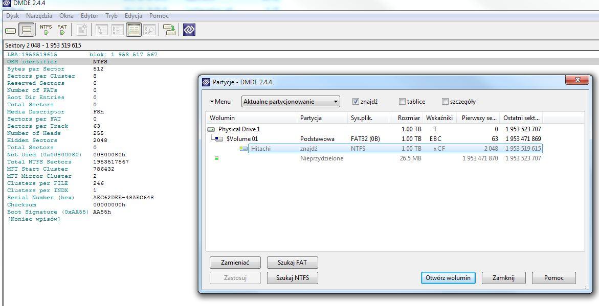 Hitachi 1TB - Odzysk danych po pr�bie sformatowania przez dekoder DVB-T