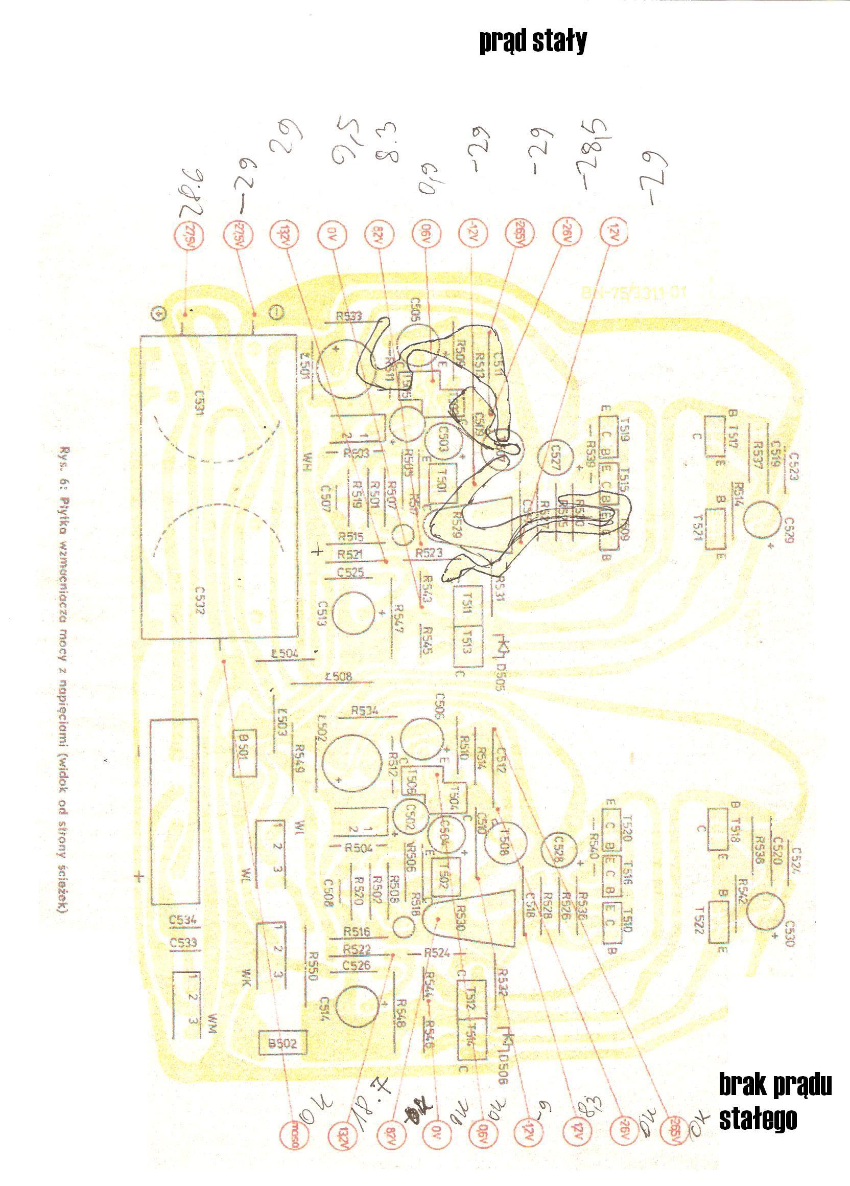 Unitra Trawiata 301S - Nieprawid�owe napi�ciam na punktach pomiarowych