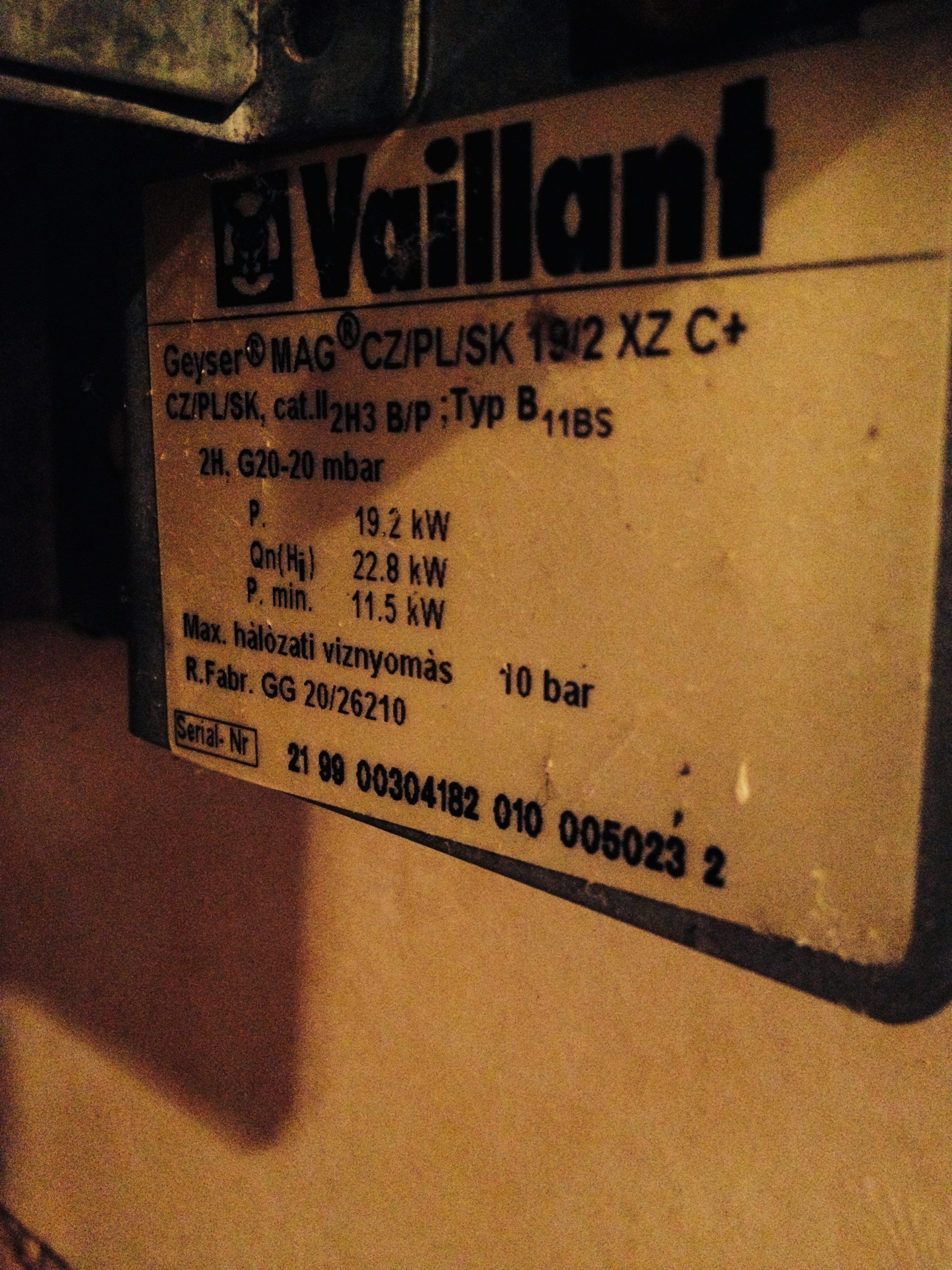 vaillant geyser mag 19 2 xz c palnik leje wod. Black Bedroom Furniture Sets. Home Design Ideas