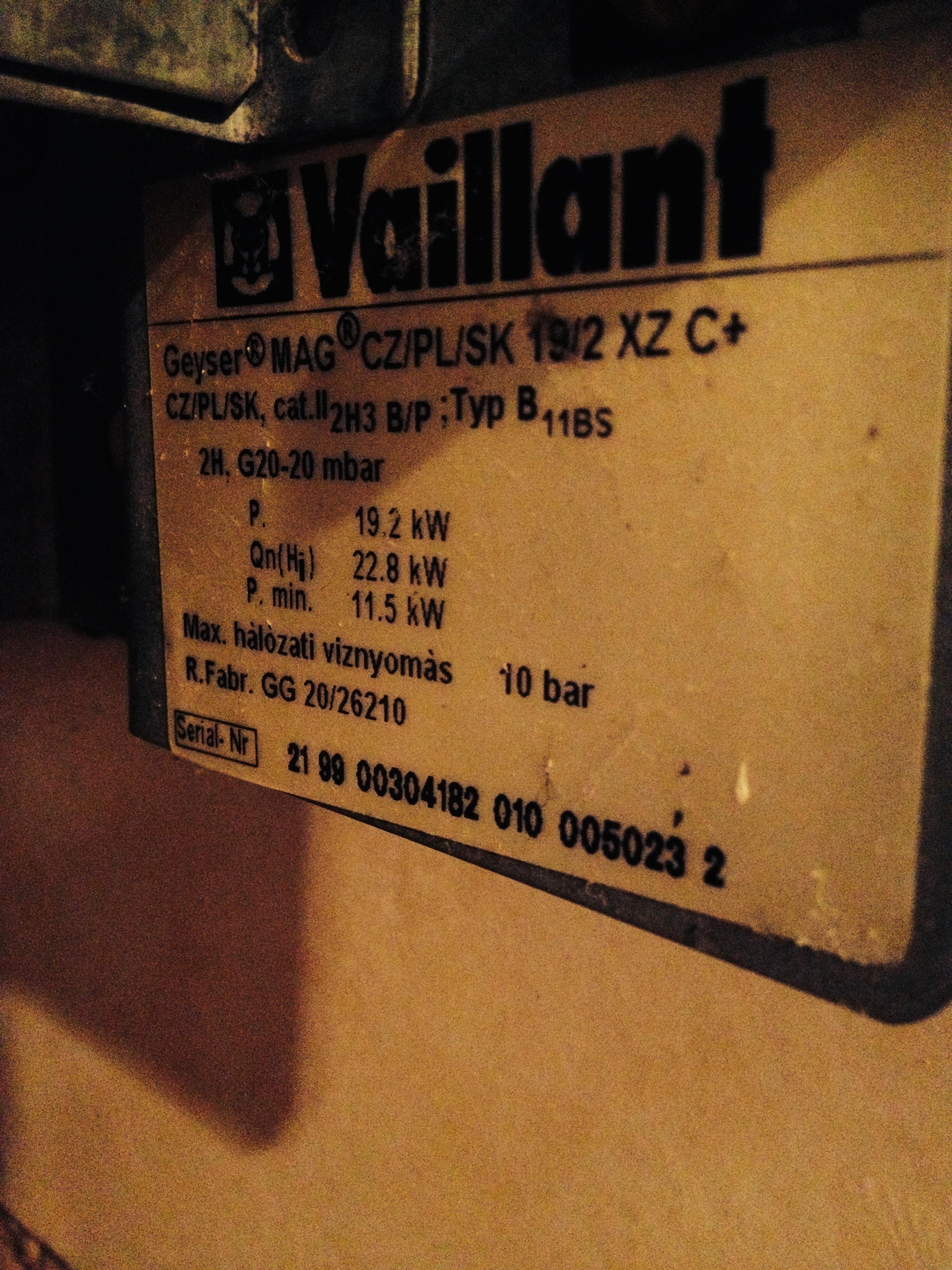 Vaillant Geyser Mag 19/2 XZ C+: palnik leje wod�