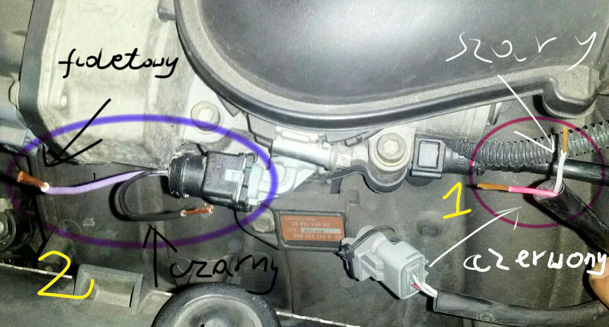 Peugeot 307 2.0 16v XSI r�ne kolory przewod�w czujnika temperatury powietrza