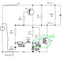 Wysokoprądowy bistabilny włącznik MOSFET, sterowany przyciskiem chwilowym.