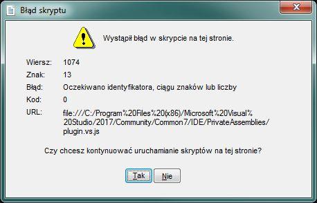 - VB.net 2017 Błąd skryptu po doinstalowaniu dodatku