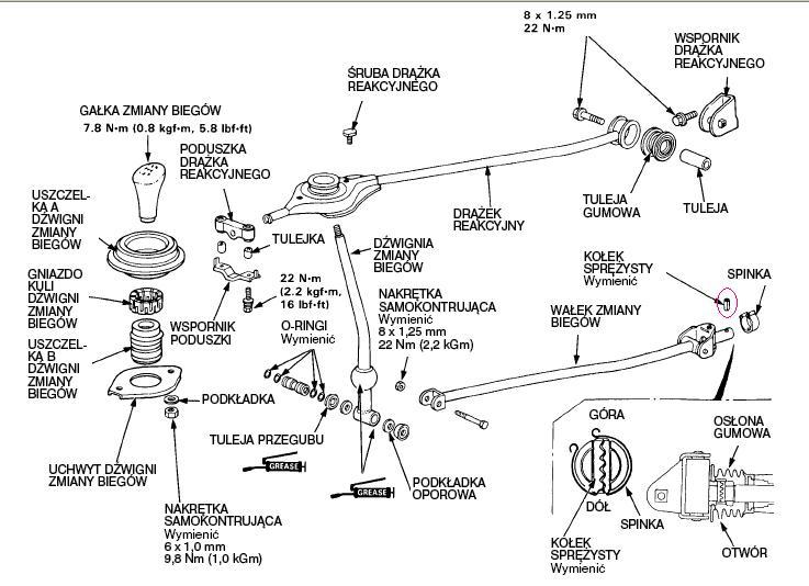 Skrzynia bieg�w i lewarek zmiany bieg�w.Honda Civic IVgen1.6 16v 90r